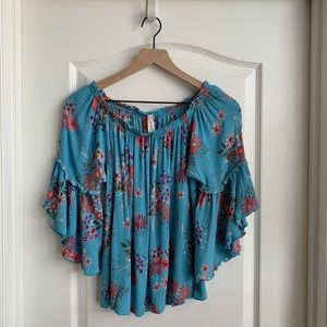 Blue floral bell sleeve blouse by Peppermint Med